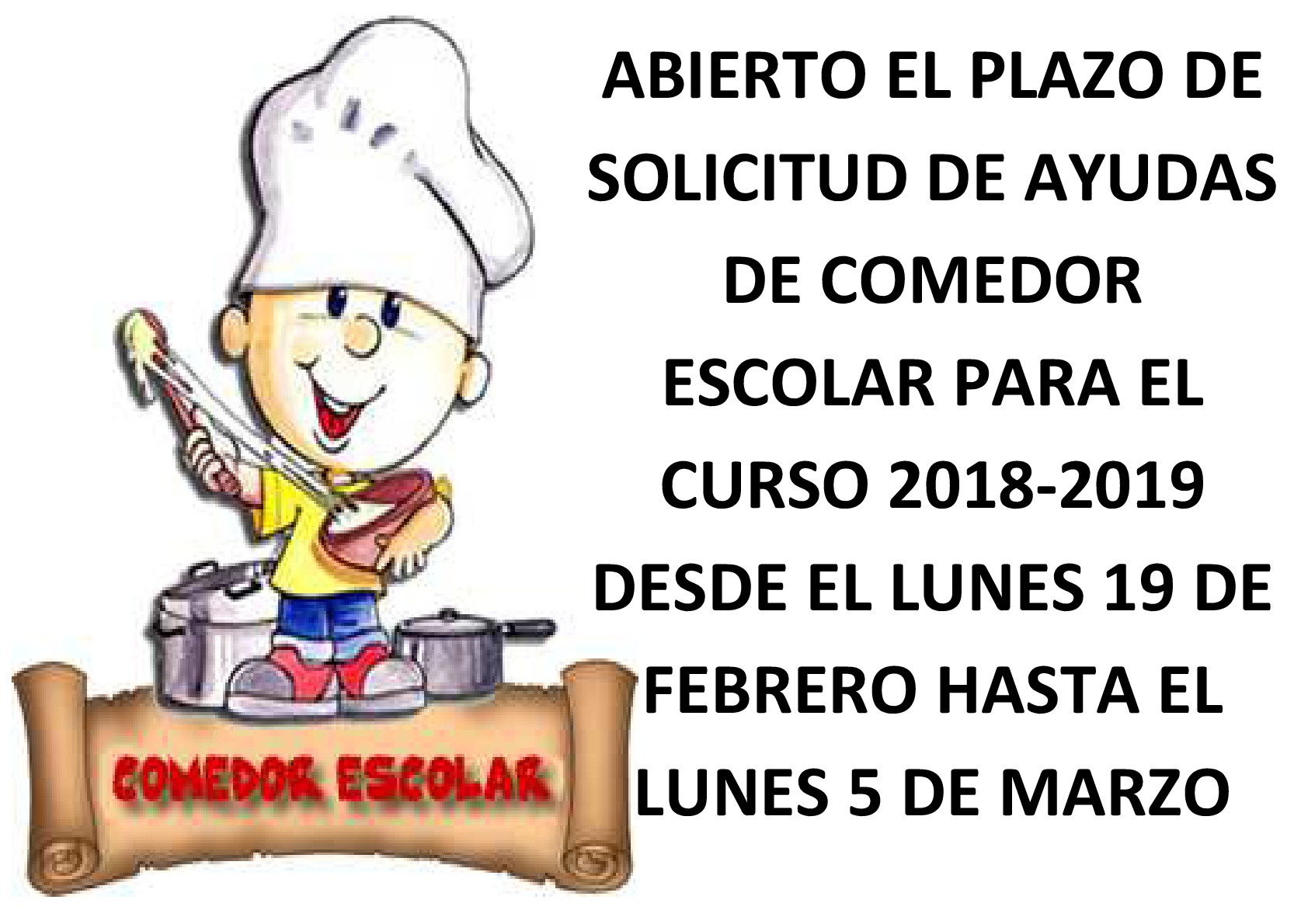 AYUDAS DE COMEDOR ESCOLAR CURSO 2018-2019 – Colegio El Ope